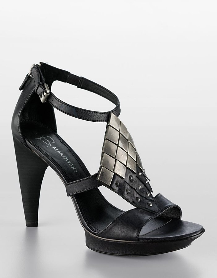 B. Makowsky Inga Studded Leather Platform Sandals