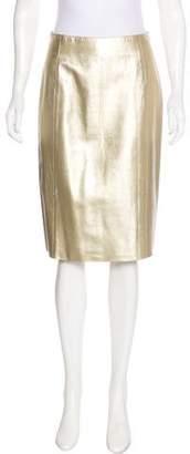Prada Metallic Knee-Length Skirt