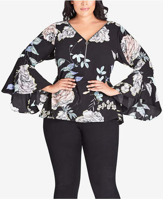 City Chic Trendy Plus Size Floral-Print Bell-Sleeve Top