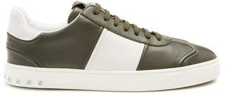 Valentino Fly Crew Low Top Leather Trainers - Mens - Green Multi