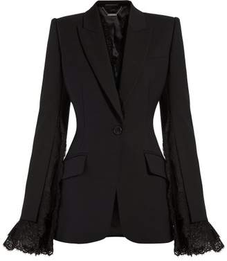 Alexander McQueen Lace Trimmed Single Breasted Blazer - Womens - Black