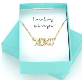 "XOXO MonogramOnline Yellow Gold over Silver Necklace in ""I'm So Lucky To Have You"" Gift Box"