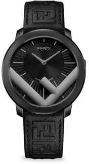 Fendi Run Away Logo Embossed Leather-Strap Watch