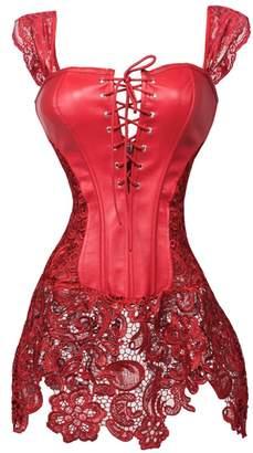 Beyonce SAYFUT Women's Steampunk Leather Plus Size Corset Dress and Thong
