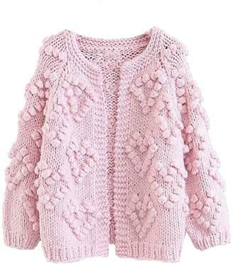 Goodnight Macaroon 'Kelli' Pom Pom Chunky Knit Open Cardigan (2 Colors)