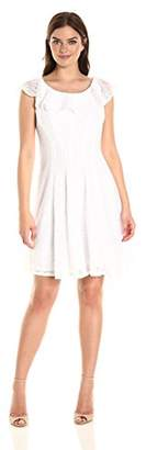 Sandra Darren Women's 1 Pc Sleefveless Lace Burnout Fit and Flare Dress