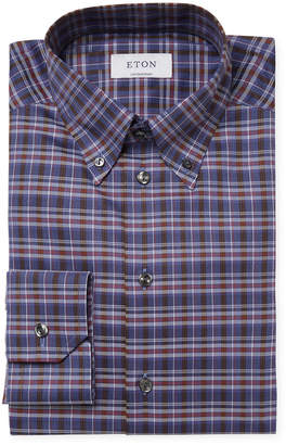 Eton Plaid Contemporary Fit Dress Shirt
