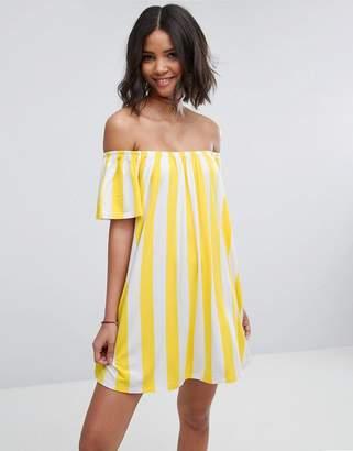 Asos DESIGN Off Shoulder Sundress Deckchair Stripe