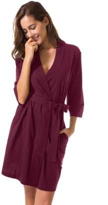 5b98c965163 SIORO Cotton Robes Lightweight Kimono Robe Gowns Soft Knit Bathrobe  Nightwear V-Neck Loungewear Sexy