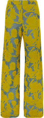 Jil Sander Floral Stretch-jacquard Wide-leg Pants - Yellow