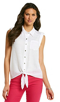 Amy Byer Extend Tab Solid Tie Front Woven