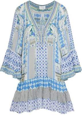 Camilla Salvador Summer Embellished Printed Woven Mini Dress