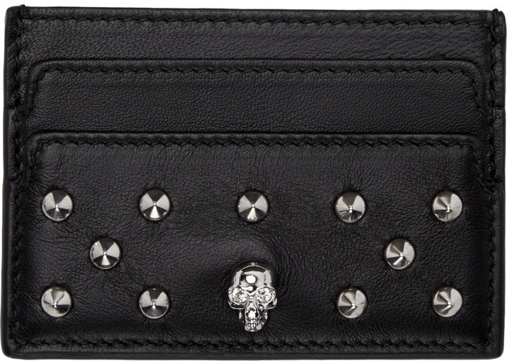 Alexander McQueen Alexander McQueen Black Skull Studded Card Holder