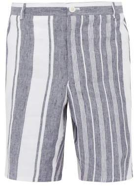 Thom Browne Striped Slubbed Linen Shorts - Mens - Navy
