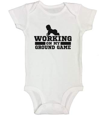 """Little Royaltee Shirts Cute Baby Onesie """" Working On My Ground Game """" Boys Funny Wrestling Shirts and Bodysuits Toddler 12"""