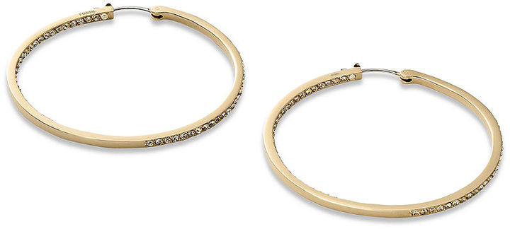 Fossil Earrings, Gold-Tone Black Diamond Crystal Accent Hoop Earrings