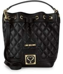 Love Moschino Quilted Faux Leather Bucket Bag