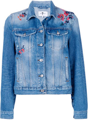 7 For All Mankind flower embroidered denim jacket