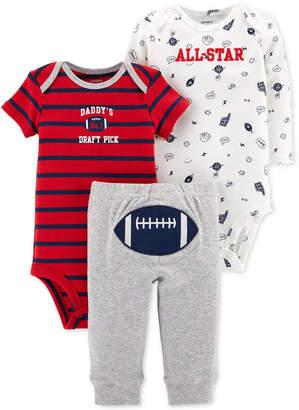 Carter's Carter Baby Boys 3-Pc. Football Cotton Bodysuits & Pants Set