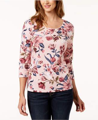 Karen Scott Floral-Print Scoop-Neck T-Shirt, Created for Macy's
