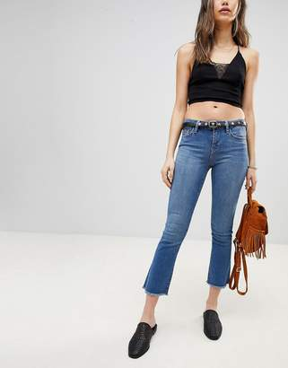 Free People Raw Cropped Straight Cut Jeans