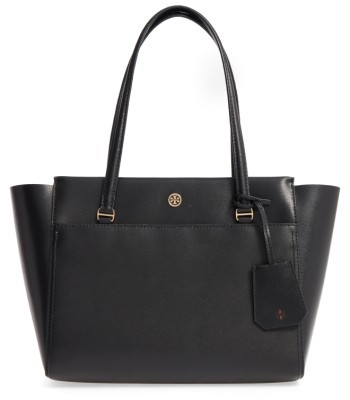 Tory Burch Small Parker Leather Tote - Black