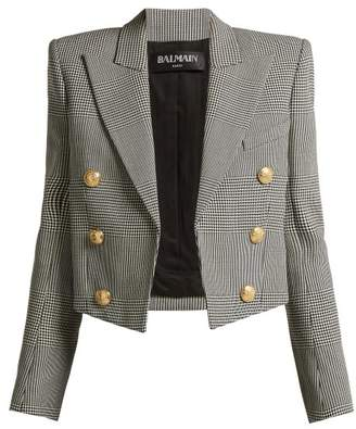Balmain Prince Of Wales Virgin Wool Cropped Blazer - Womens - Grey Multi