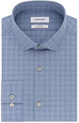 Calvin Klein Men Steel Slim-Fit Non-Iron Performance Stretch Blue Plaid Dress Shirt