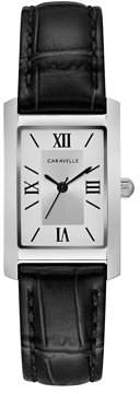 Bulova CARAVELLE Designed by Caravelle Women's Classic Rectangular Black Leather Strap Dress Watch