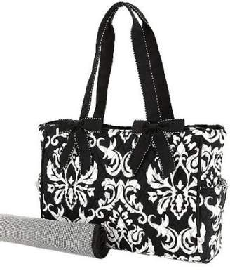 Belvah Quilted Damask Diaper Tote - Two Piece Set - /White