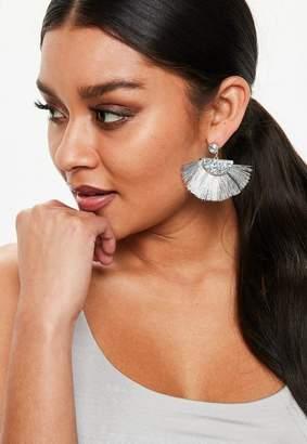 Missguided Silver Fan Tassel Earrings
