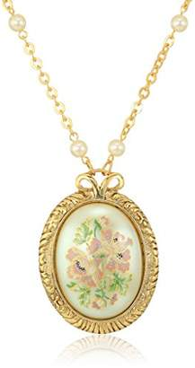 1928 Jewelry Womens Gold Tone Large Oval Flower Decal Pearl with Pearl & Chain Pendant Necklace