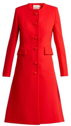 Goat Hampton Single Breasted Wool Crepe Coat - Womens - Red
