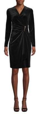 Calvin Klein Long-Sleeve Velvet Wrap Dress