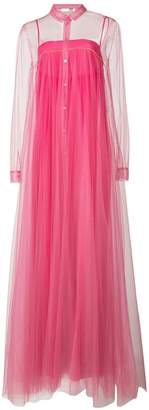 Vionnet long pleated sheer dress