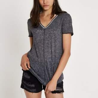 River Island Womens Grey short sleeve embellished slub T-shirt