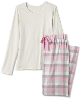 Lands' End Pink Womens Petite Patterned Flannel Pyjama Gift Set