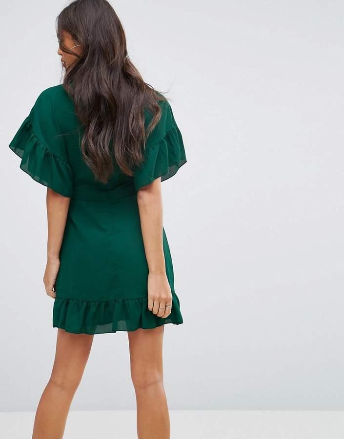 Missguided Chiffon Frill Sleeve Mini Dress