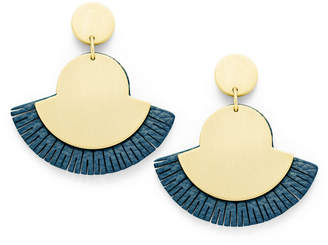 Fossil Fan Indigo Blue Earrings