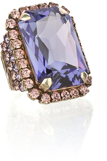 Frangos Crystal-Studded Cocktail Ring, Purple