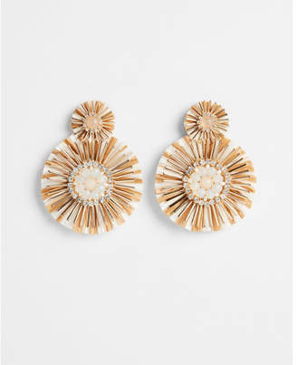 Express double raffia disc post back earrings