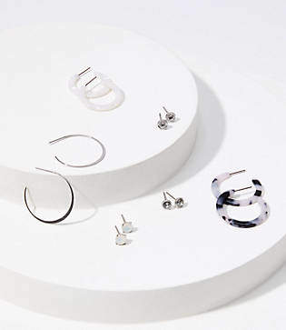 LOFT Resin Stud & Hoop Earring Set