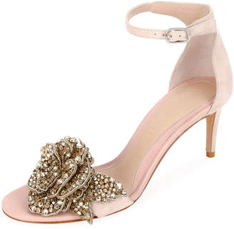 Alexander McQueen Suede Ankle Sandals with Crystal Flower