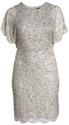 Adrianna Papell Beaded Flutter Sleeve Sheath Dress