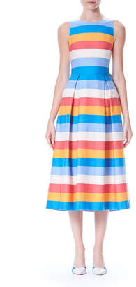 Carolina Herrera Back-Bow Tie Sleeveless Multi-Stripe A-Line Dress