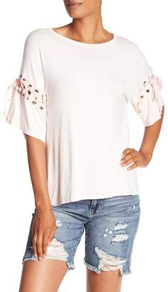 Vintage Havana Washed Lace Up Sleeve Tee