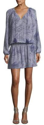 Ramy Brook London Tassel-Ties Long-Sleeve Printed Silk Short Dress