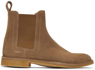 Bottega Veneta Tan Suede Voortrekking Chelsea Boots