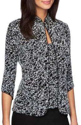 Alex Evenings Plus Two-Piece Embellished Jacquard Jacket and Tank Top Set