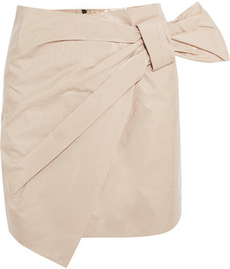 Isabel Marant - Anders Wrap-effect Coated Cotton-blend Mini Skirt - Off-white $530 thestylecure.com